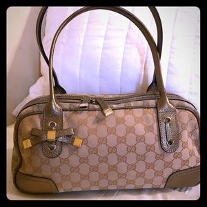 Vintage Gucci Princy Boston GG Canvas/Gold Leather